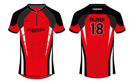 Sports jersey t shirt design concept vector template, Football jersey concept with front and back view for Soccer, Cricket, Volleyball, Rugby, tennis, badminton and active wear uniform.