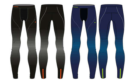 Compression Tights Pants design vector template, Base layer Performance bottom concept with front and back view for running, jogging, fitness, and active wear pants design. Ilustración de vector