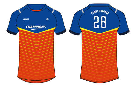 Sports jersey t shirt design concept vector template, Raglan Round neck football jersey concept with front and back view for Cricket, soccer, Volleyball, Rugby, tennis and badminton uniform Vettoriali