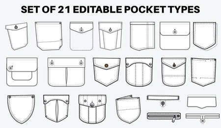 Patch pocket flat sketch vector illustration set, different types of Clothing Pockets for jeans pocket, denim, sleeve arm, cargo pants, dresses, garments, Clothing and Accessories