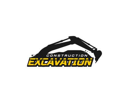 Vecteur de modèle de logo d'excavatrice. Vecteur de logo d'équipement lourd pour entreprise de construction. Illustration de pelle créative pour le modèle de logo.