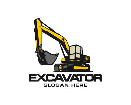 Excavator logo template vector. Heavy equipment logo vector for construction company. Creative excavator illustration for logo template. Ilustração