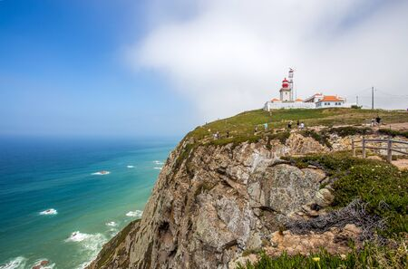 Cabo do Roca lighthouse, Portugal, westernmost point of mainland Europe Stock Photo