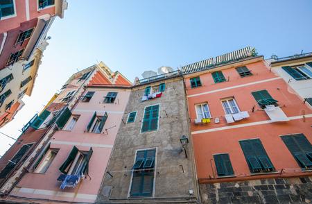 Typical colored houses of Vernazza, 5 Terre, La Spezia province, Ligurian coast, Italy.