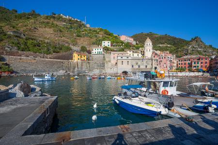 View of Vernazza, 5 Terre, La Spezia province, Ligurian coast, Italy.
