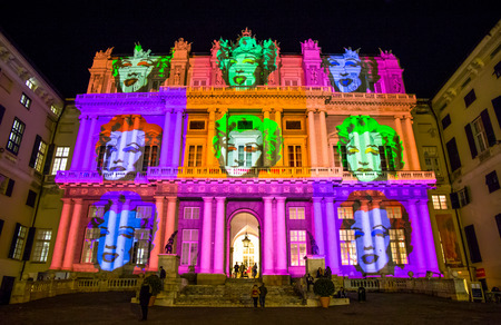 Palazzo Ducale, show dedicated to Andy Warhol event exposure. The face of Marilyn Monroe, who was a friend of the artist, Genoa, Italy Standard-Bild - 103975055