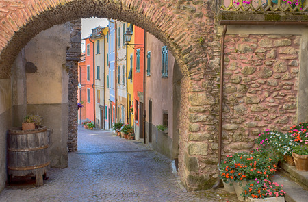 View of Pignone, picturesque and ancient village with colorful houses in inland of La Spezia, near to the famous 5 Terre, Italy.