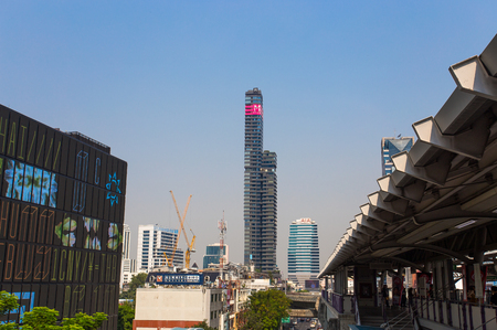 Modern buildings around Chong Nonsi Bts skytrain station in Bangkok, Thailand Editorial