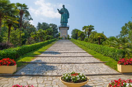 San Carlo Borromeo colossus in Arona town, Novara province, Maggiore lake, Piedmont region, Italy. It is a statue over 30 meters high located in Arona, Novara,  in the hamlet of San Carlo, on the Sacro Monte of San Carlo.
