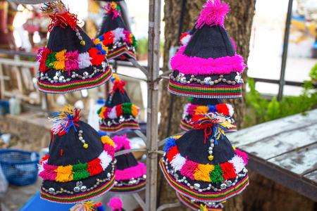 Colorful patterns of Akha tribe hats, Chiang Mai, Thailand.