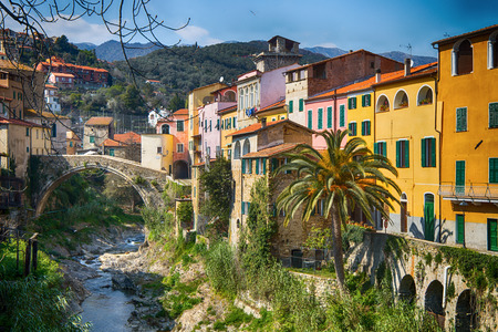 Colorful houses in a small village with stone bridge at Dolcedo Imperia Liguria Italy Stockfoto