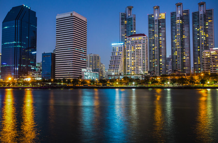Benjakitti Park in Bangkok, Thailand. Panorama of cityscape with skyscrapers and sky line
