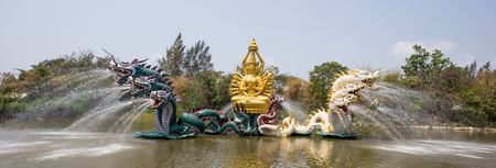 Bodhisattva Avalokitesvara (Kuan-Yin) Performing at Miracle in Ancient City Park, Muang Boran, Samut Prakan province, Thailand Фото со стока