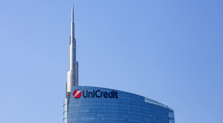 View of the Unicredit Tower in Gae Aulentis Square, the buisness area near the Garibaldi train station, Milan, Italy Editorial