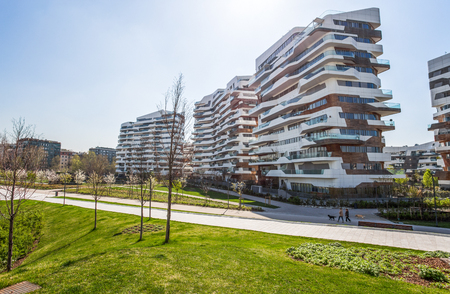 New modern residential building of City Life business and residential district, Tre Torri, Milan, Italy