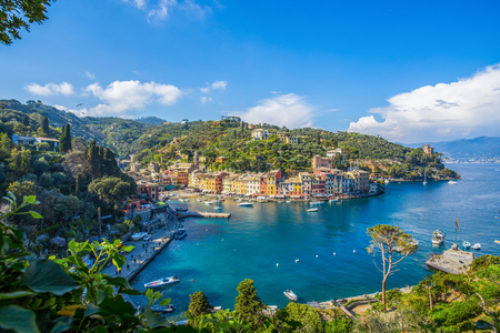 Panoramic view of Portofino, an Italian fishing village, Genoa province, Italy. A tourist place with a picturesque harbor and colorful houses Stock Photo