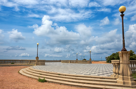 Mascagni Terrace, promenade of Livorno, picturesque seashore in Tuscany, Italy, Europe 免版税图像