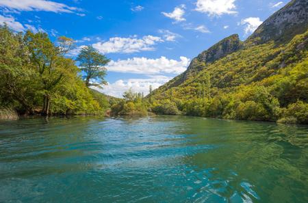 View of Cetina river around Omis (Almissa) city, Dalmatia, Croatia canyonsrivergreenmountains
