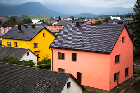 Colourful houses in the village of Korenica, Croatia, near Plitvice National Park, Europe