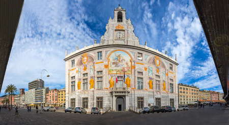 Panoramic view of St. George Palace (St. Georges Palace) in Genoa historic center, near Editorial