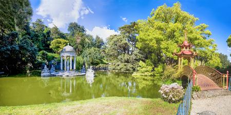 Diana Temple and Chinese bridge in Villa Durazzo - Pallavicini in Genoa Pegli, Italy