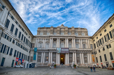 GENOA (GENOVA), ITALY, APRIL 16, 2018 - View of Palazzo Ducale in the city center of Genoa (Genova), Italy.