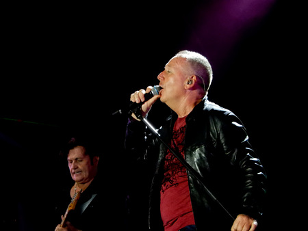 GENOA (GENOVA), ITALY, JULY 11, 2018 - Simple Minds band live in concert with the leader and frontman Jum Kerr in Genoa (Genova), Italy.