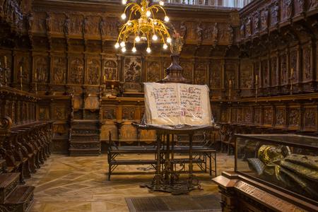 BURGOS, SPAIN, JUNE 11, 2016 - Cid Campeadors grave in Burgos cathedral of Virgin Mary.