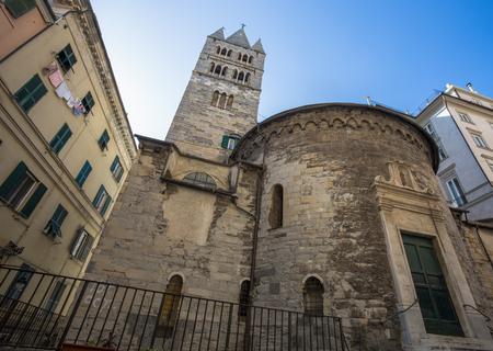 GENOA, ITALY, APRIL 5, 2018 - The apse and the bell tower of the Convent of San Giovanni di Pr??¨ (La Commenda) inside the historic center of Genoa, Italy.