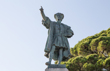 Christopher Columbus monument in Rapallo, Genoa province, Italy.