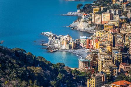 Aerial view of city of Camogli, Genoa (Genova) province, Ligurian riviera, Mediterranean coast, Italy