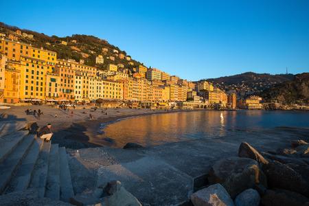 CAMOGLI, ITALY, JANUARY 13, 2018 - View of city of Camogli , Genoa (Genova) Province, Liguria, Mediterranean coast, Italy Editorial