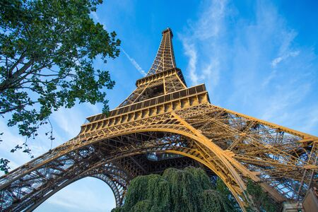 View of Eiffel Tower in a sunny in Paris, France