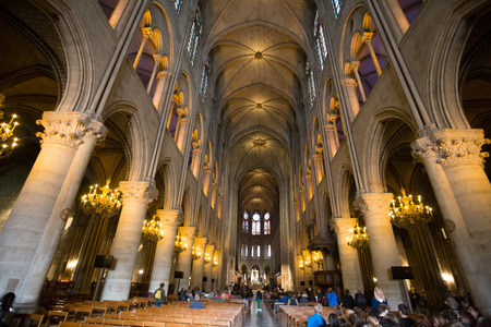 PARIS, FRANCE, SEPTEMBER 6, 2018 -  Notre Dame de Paris cathedral interior, Paris, France