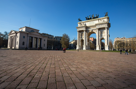 MILAN, ITALY, DECEMBER, 5, 2018 - Arco della Pace, (Arch of Peace), near Sempione Park in city center of Milan, Italy