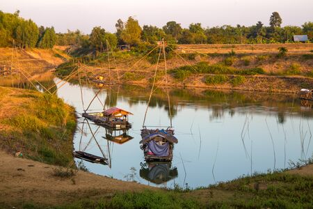Yor in a fisherman village of North east Thailand near a lake. Yor is old stye fishing in Asia