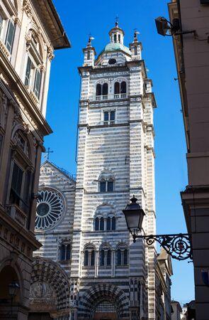 GENOA, ITALY, MARCH 22, 2019 - Saint Lawrence Cathedral, (Cattedrale di San Lorenzo) in Genoa (Genova), Italy