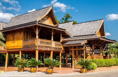 Typical Thai teakwood houses in the north of Thailand, Asia