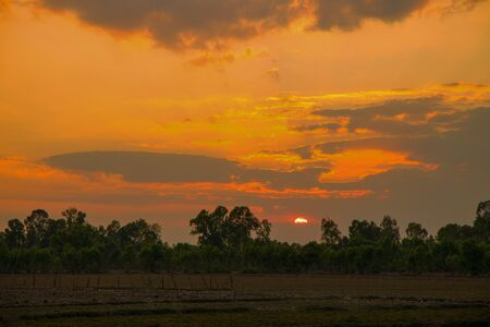Sunset in a country field in the north east Thailand, Asia