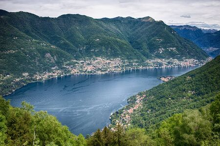 Panoramic view of Como lake from the village of Brunate, Italy