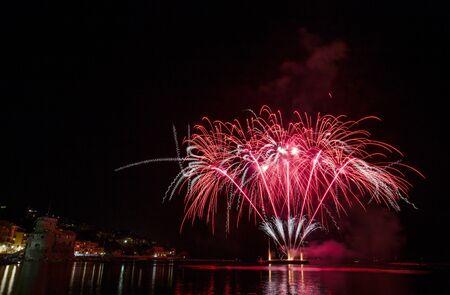 RAPALLO, ITALY JULY, 3, 2019 - Fireworks in Rapallo, Genoa province, Ligurian riviera, Italy.