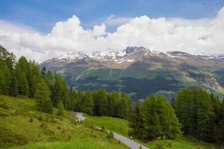 View from the Gavia pass, an alpine pass of the Southern Rhaetian Alps, marking the administrative border between the provinces of Sondrio and Brescia, Italy Stock Photo
