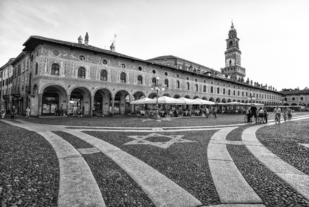 VIGEVANO, ITALY, MAY 10, 2015 - View of Ducale square with Bramante tower in Vigevano, Pavia province, Italy