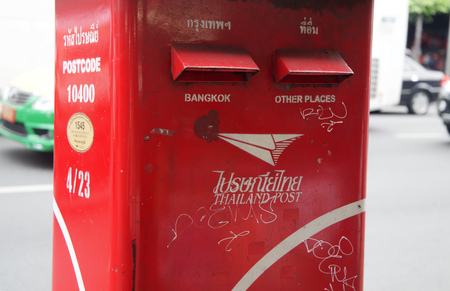 BANGKOK, THAILAND, JANUARY 9 ,2019 - Thailand post letterbox along street, red mailbox to send to Bangkok and other places.