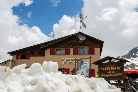 GAVIA PASS, ITALY, JUNE 20, 2019 - Bonetta refuge on Gavia pass, an alpine pass of the Southern Rhaetian Alps, marking the administrative border between the provinces of Sondrio and Brescia, Italy