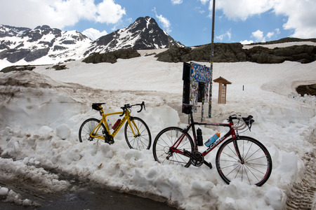 GAVIA PASS, ITALY, JUNE 20, 2019 - Bikes parked on the Gavia pass, an alpine pass of the Southern Rhaetian Alps, marking the administrative border between the provinces of Sondrio and Brescia, Italy
