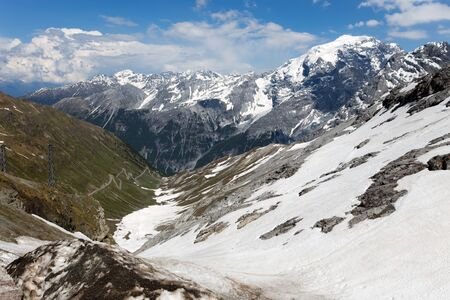 View from the Stelvio Pass, the highest automobile pass in Italy, 2758 metres , located between Trentino-Alto Adige and Lombardy, Italy. Banco de Imagens