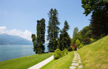 View of Gardens of Villa Melzi in the village of Bellagio on Como lake, Italy