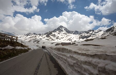 View from the Gavia pass, an alpine pass of the Southern Rhaetian Alps, marking the administrative border between the provinces of Sondrio and Brescia, Italy.