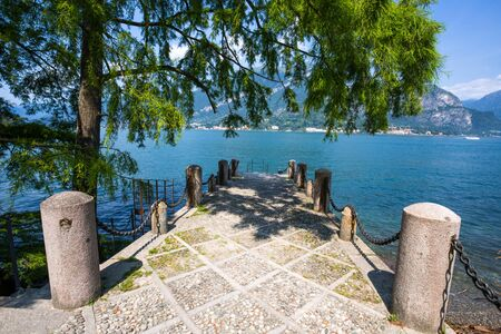 View of Villa Melzi and the Gardens in the village of Bellagio on Como lake, Italy Banco de Imagens